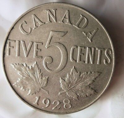 1928 CANADA 5 CENTS - Excellent Collectible - FREE SHIP - Canada Nickel Bin