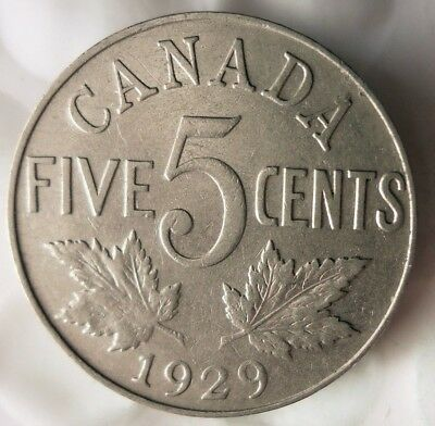 1929 CANADA 5 CENTS - Excellent Collectible - FREE SHIP - Canada Nickel Bin