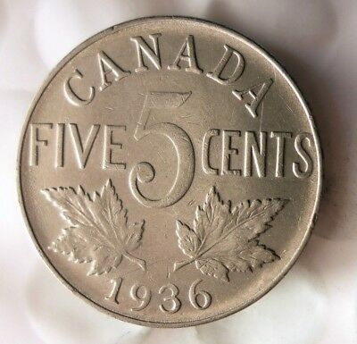 1936 CANADA 5 CENTS - Excellent Collectible - FREE SHIP - Canada Nickel Bin