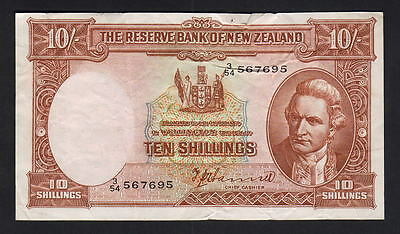 NEW ZEALAND P-158a. (1954) Ten Shillings - Hanna..   Prefix 3/54.. aEF