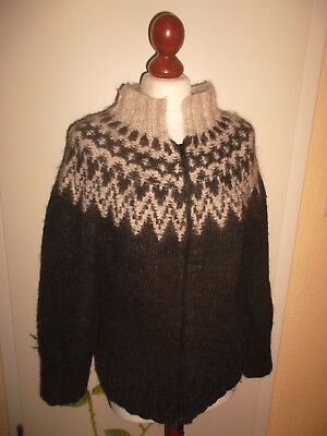 Island Norweger Strickjacke Wolle Hippie wool hippie winter cardigan M