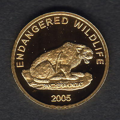 Mongolia. 2005 Gold 1000 Tugrik.. Snow Leopard.. 1.224gms  .9999 gold.. Proof