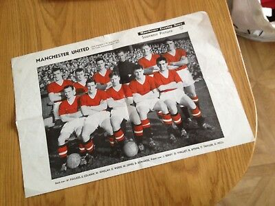 1957  Manchester United Man Utd Busby Babes Poster  Pegg Edwards Taylor Ect