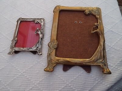 2 Vintage Art Nouveau Style 1 Brass + 1 Silver  / Metal Picture / Photo Frame