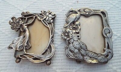 2 Small Vintage Art Nouveau Style Silver Plated / Metal Picture / Photo Frame