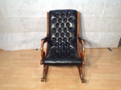 Superb Chesterfield Slipper Rocking Chair In Black Leather And Cherry Wood & SUPERB CHESTERFIELD SLIPPER Rocking Chair In Black Leather And ...