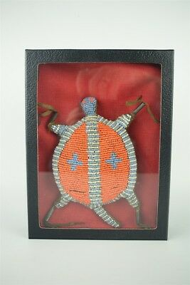 Antique Beautiful Hand Crafted Beaded Native American Umbilical Fetish Turtle