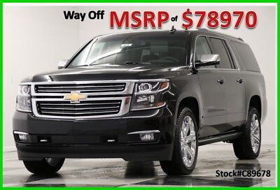 2018 Chevrolet Suburban MSRP$78970 4X4 DVD Premier GPS Leather Black 4WD New Heated Cooled Leather Navigation Player 22 In Chrome  Captains 17 2017 18