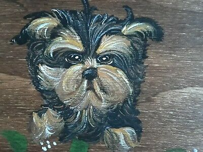 Hand Painted Yorkshire Terrier YORKIE dog art Wooden Organizer Box shabby roses