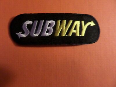 SUBWAY black & silver&yellow Embroidered 1-1/4 x 23-5/8 Iron On Patch