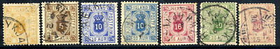 ICELAND 1876-95 Official set with both shades of 10 Aur. used