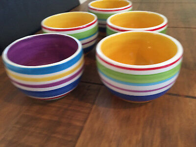 5 Whittard Of Chelsea Striped Little Tubs Pots Bowls For Sweets Olives Nuts Etc