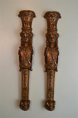 Beautiful pair of original antique Regency lady column furniture mounts c.1820