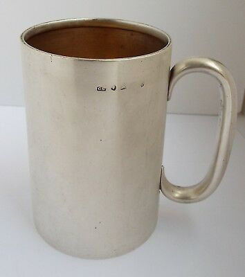 Handsome Large English Antique Victorian 1879 Solid Sterling Silver Pint Tankard