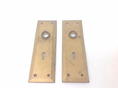 Vintage Steel Door Knob Plates Escutcheon Key Hole Hardware
