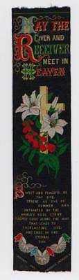 Antique Silk Bookmark Stevengraph Thos Stevens Coventry May Giver & Receiver