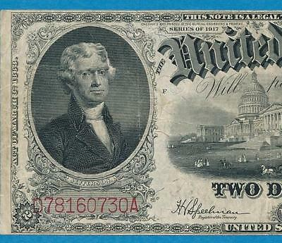 $2.00 Fr.60 1917   Red Seal Legal Tender United States Note Vf  No Rerserve
