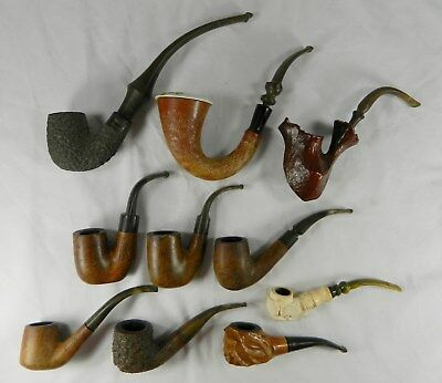 Lot Of 10 Used Vintage Curved Stem Tobacco Pipes - 8 Briar