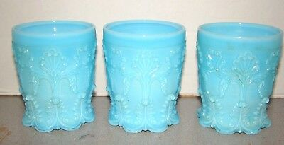 Antique French Blue Opaline Glass 3 Lacy Tumblers Baccarat St. Louis