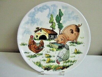 folk art barn yard animals hand painted pottery plate Italy pig rooster 13""