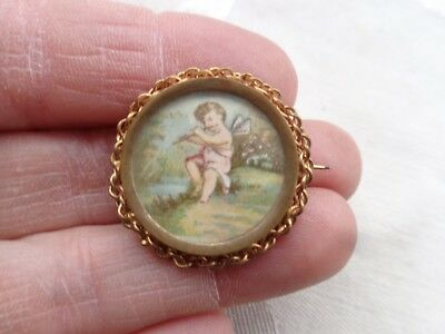 Antique Victorian Cherub Fairy Playing Flute Gold Gilt Sweet Pin
