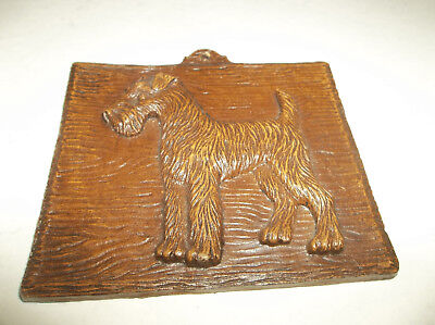 """Embossed Vtg Fox or Airedale Terrier Dog Syrocco Wood Wall Plaque - 4"""" x 4"""""""