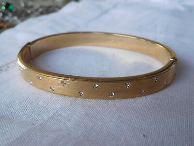 Lovely Vintage 1980s Gold Bracelet with tiny crystals signed MONET