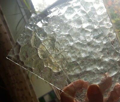 6 x small pieces of old clear patterned glass spares/crafts