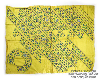 Chinese Uncut Ladies Silk Coat Parts, Yellow Panel, Cranes, Flowers, Late 19th C