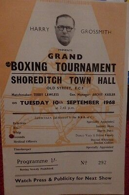 Boxing Programme - Shoreditch Town Hall - Chris Jobson V Billy Yusuf 1968