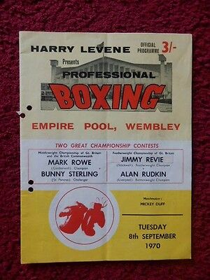 Boxing Programme - Mark Rowe V Bunny Sterling 1970