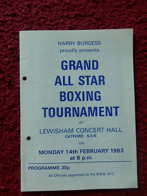 Boxing Programme - Billy Aird V Maurice Gomiz 1983