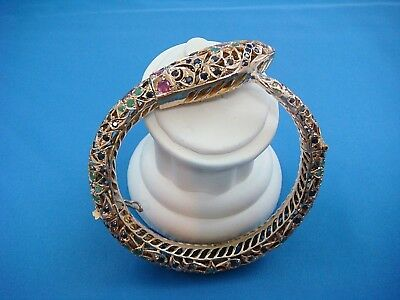 Antique Heavy 56.5 Grams Gold Snake Bangle Bracelet With Gemstones, India Origin