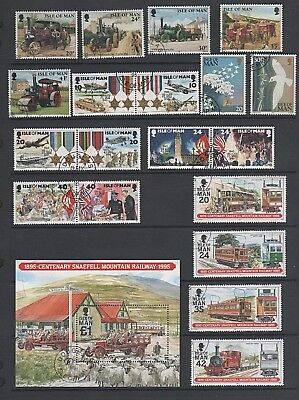 Isle of Man 1995 4 Used / CTO Sets + Snaefell Railway Mini Sheet