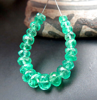 GORGEOUS GEM AAAAA+ COLOMBIAN EMERALD 2.8-4.7mm FACETED BEADS 5.45cts *RARE