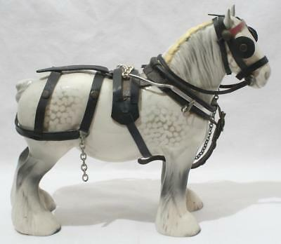 Antique Vintage Beswick Shire Horse Large Figure Dapple Grey with Harness