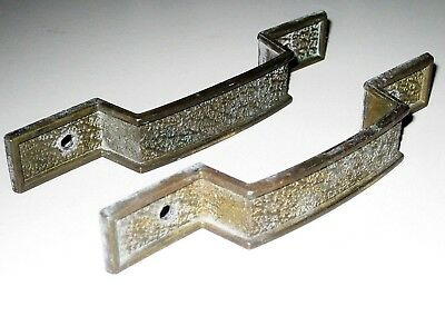 Lot of 2 Vintage Brass Tone Metal Dresser / Desk Drawer Pulls / Handles Hyer USA