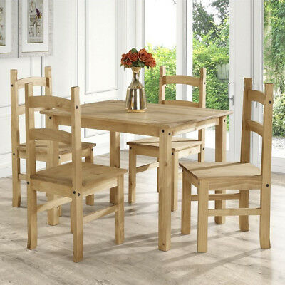 New Corona Mexican Solid Pine Dining Table And 4 Chairs Set