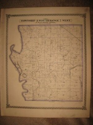 Antique 1874 New & Athens Township St Clair County Illinois Handcolored Map