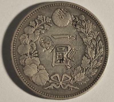 1 Yen 1892 Japan Meji 25 Silver with Office Gin Counterstamp and Chop Marks