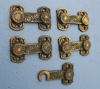 4 Antique Eastlake Victorian Bronze Finish Iron Cupboard Door Latch