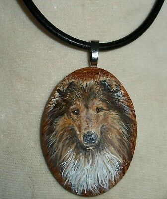 Hand Painted Collie Dog pendant necklace Natural Stone
