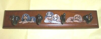 Hand painted Cavalier King Charles Spaniel Wood Wall key/ Leash Hanger
