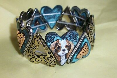 Hand Painted Cavalier King Charles Spaniel Stretch heart  Bracelet
