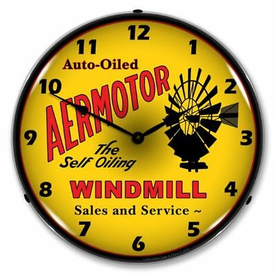 "14"" Double Bubble Aermotor Windmill Sales Retro Backlit Garage Clock 1507613"