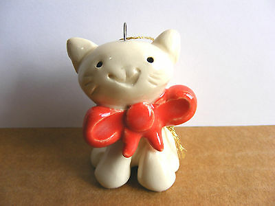 Little Guys Retired Cat With Bow Christmas Ornament Mini Animal Cindy Pacileo