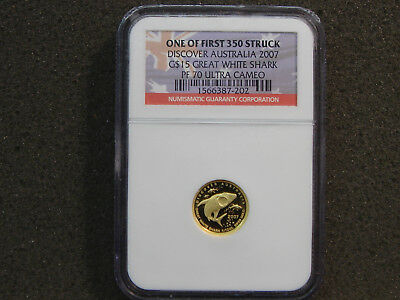 2007 15 Dollars 1/10 oz 9999 Gold Discover Australia Great White Shark NGC PF 70