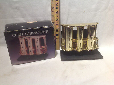 Brass Tone 3 Barrel Coin Dispenser With Stand-Vintage-New In Box