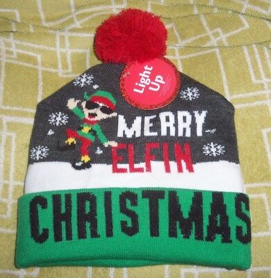 9d11ef0c LIGHT UP ELF Hat Lighted Red Green Jester Santa's Helper Christmas ...
