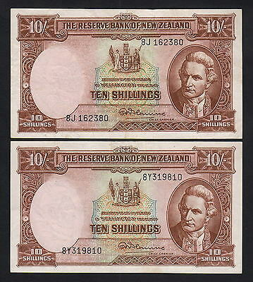 NEW ZEALAND P-158d. (1956-67) Ten Shillings - Fleming x 2 Notes.. VF & EF